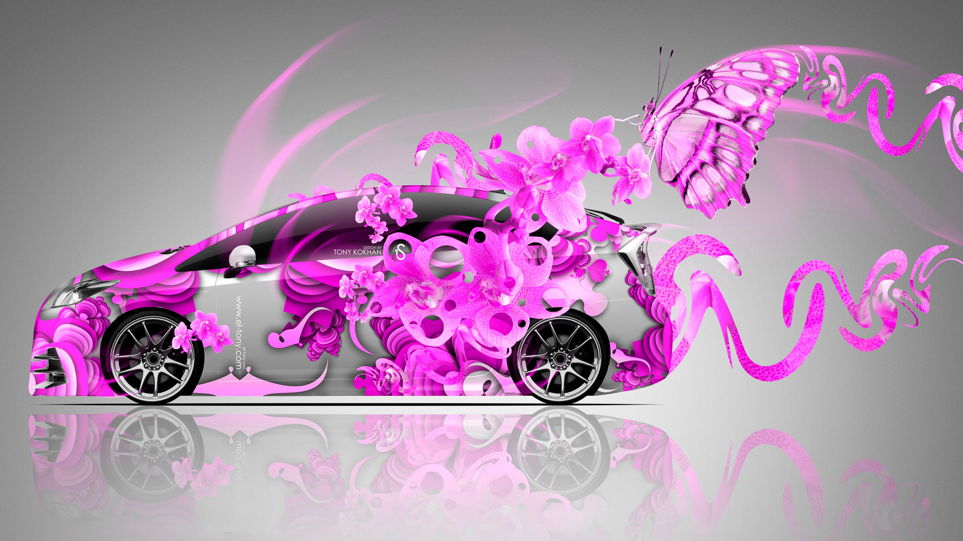 3d Bugatti Car Wallpaper Toyota Prius Fantasy Flowers Butterfly Car 2014 El Tony