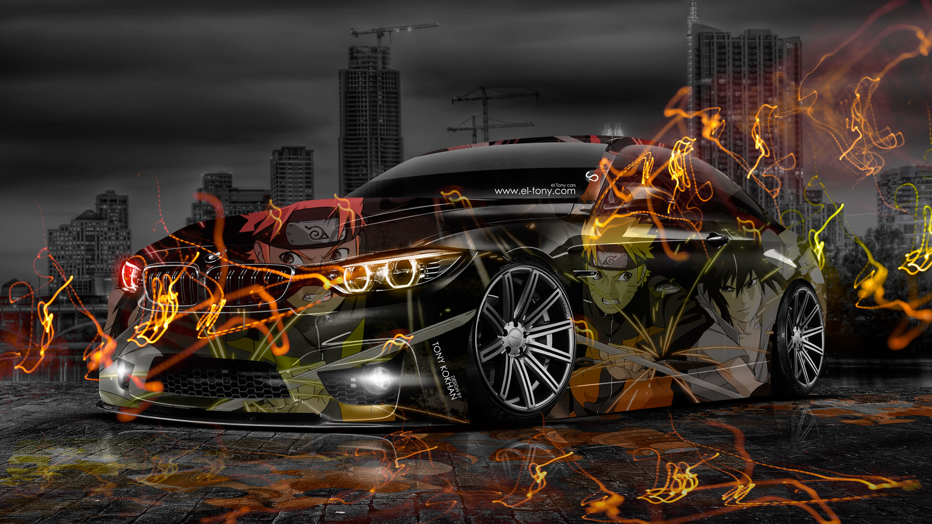 Car Manipulation Wallpapers Smokee Bmw M4 Anime Aerography Naruto City Car 2014 El Tony
