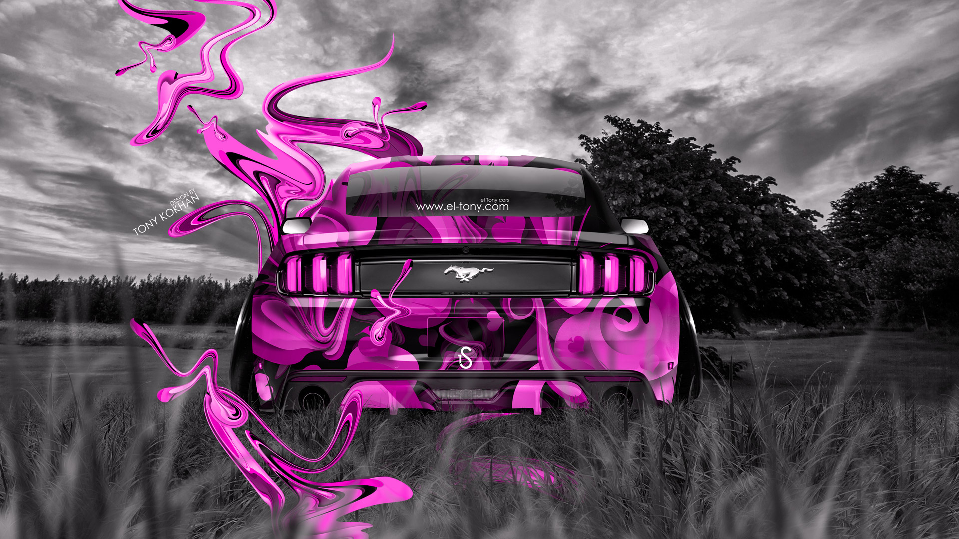 Neon Car Wallpaper With Girls Ford Mustang Muscle Back Crystal Nature Car 2014 El Tony