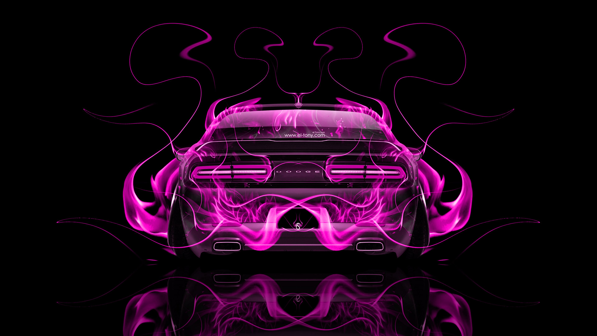 Cool Neon Cars Wallpapers Dodge Challenger Muscle Back Fire Abstract Car 2014 El Tony
