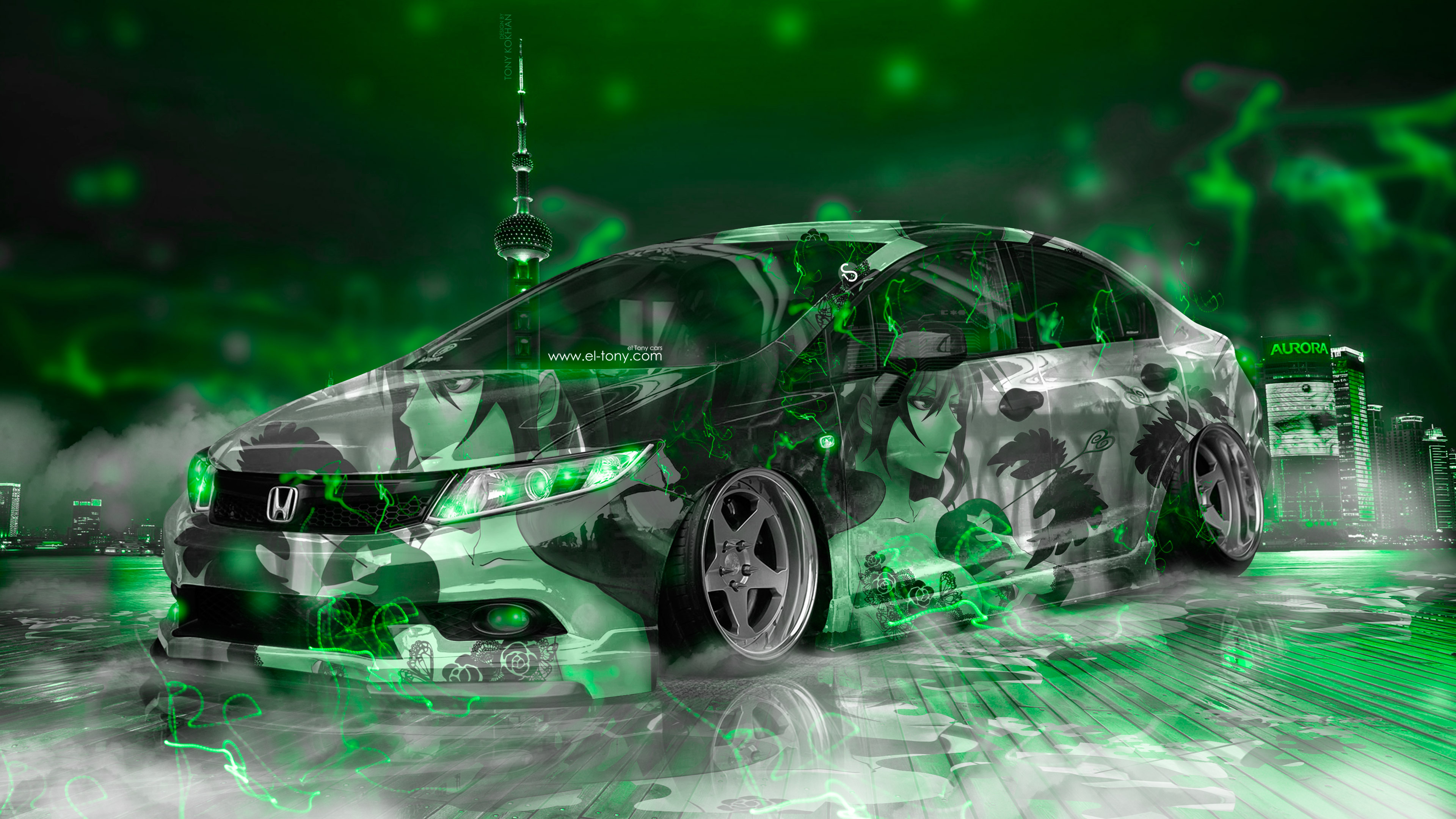 Bmw Girl Wallpaper Honda Civic Jdm Tuning Super Anime Girl Energy Night City