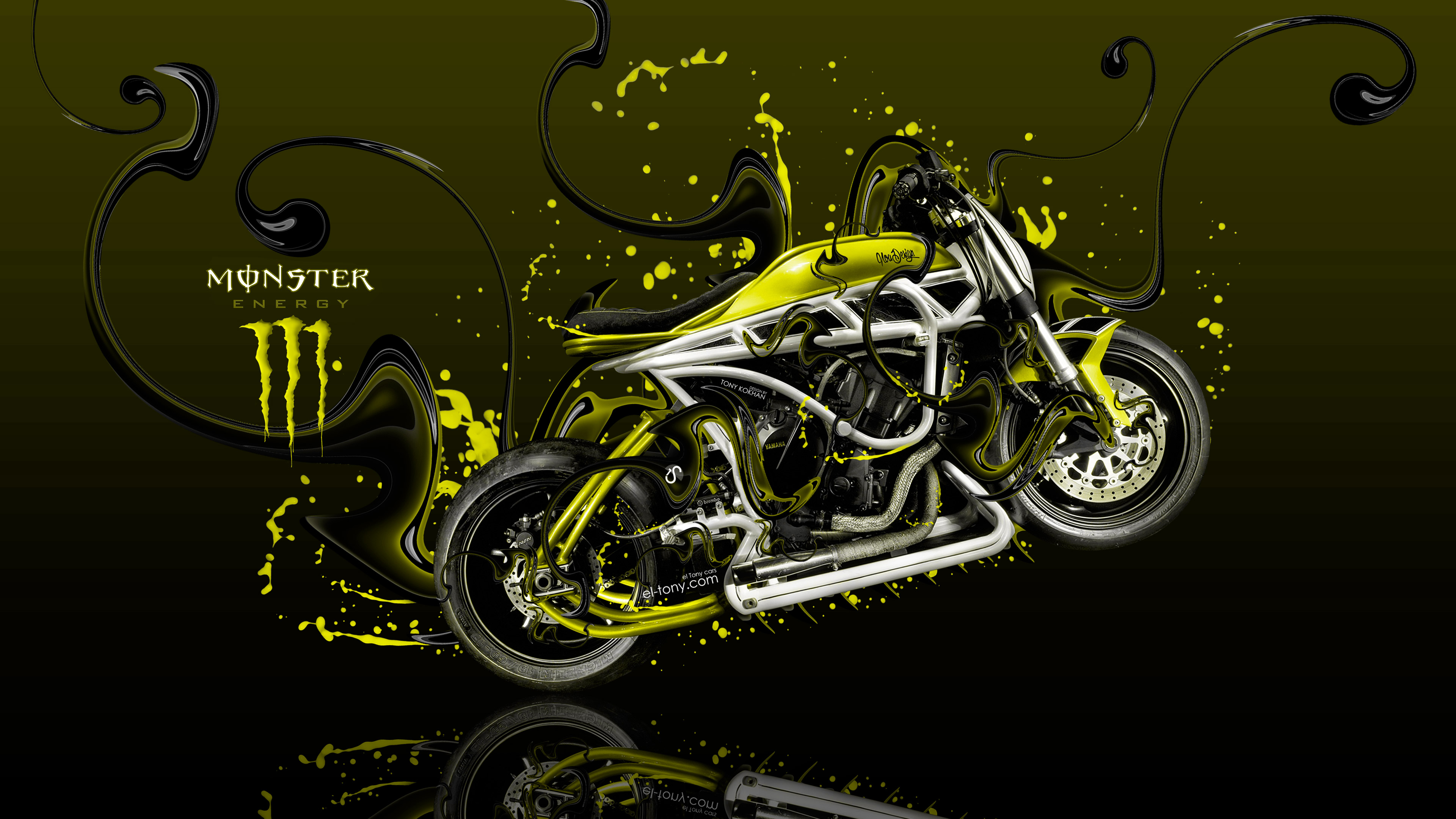 3d Mustang Wallpaper Monster Energy Moto Yamaha Side Super Plastic Acid Bike