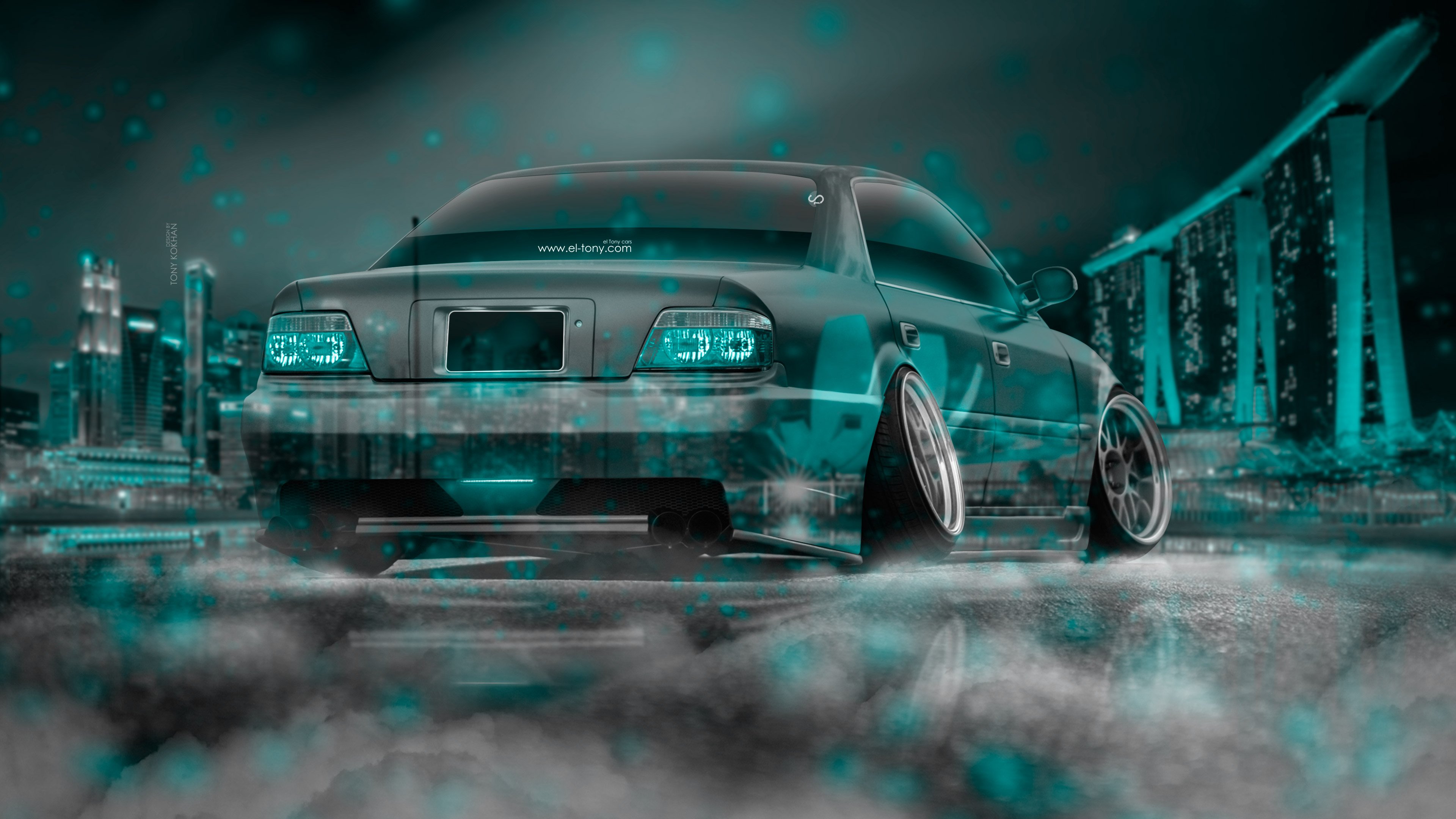 Anonymous Mask Wallpaper 3d Toyota Chaser Jzx100 Jdm Crystal City Night Neon Fog Smoke