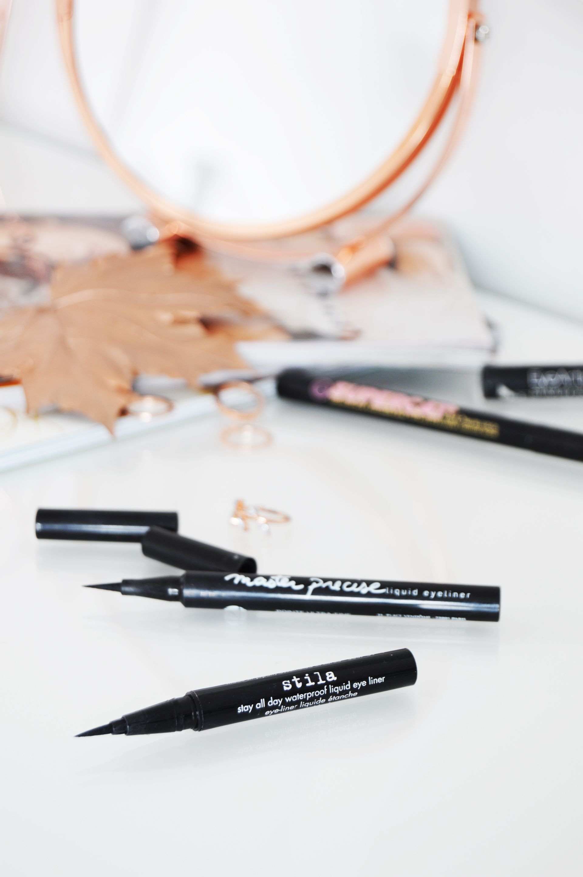 Drugstore vs High End Eyeliner - Stila Stay All Day waterproof liquid eyeliner vs Maybelline Master Precise liquid eyeliner. Maybelline one is the good dupe of Stila one. Felt tip liner and the pigmentation are almost the same.