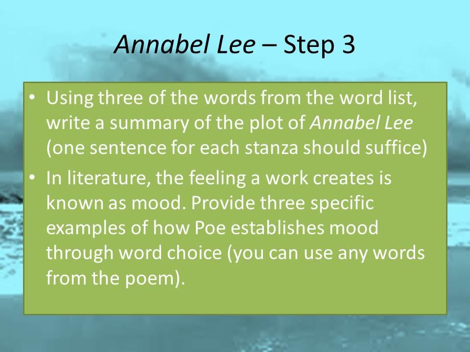 Teaching Edgar Allan Poe Poems A 4-Step Lesson Plan for Annabel Lee - lesson plan words