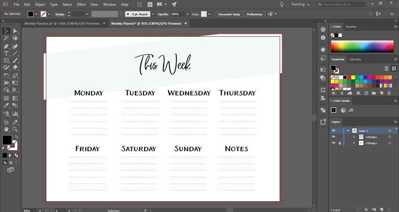 How to make a printable weekly planner in Illustrator ~ Elan