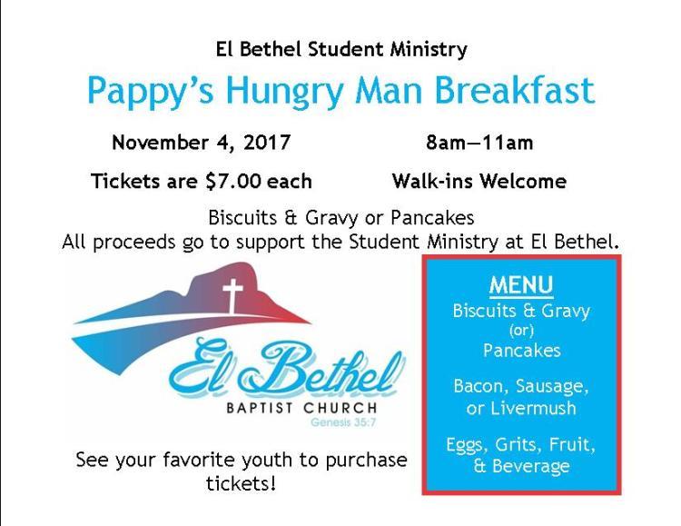 Student Ministry Breakfast Fundraiser