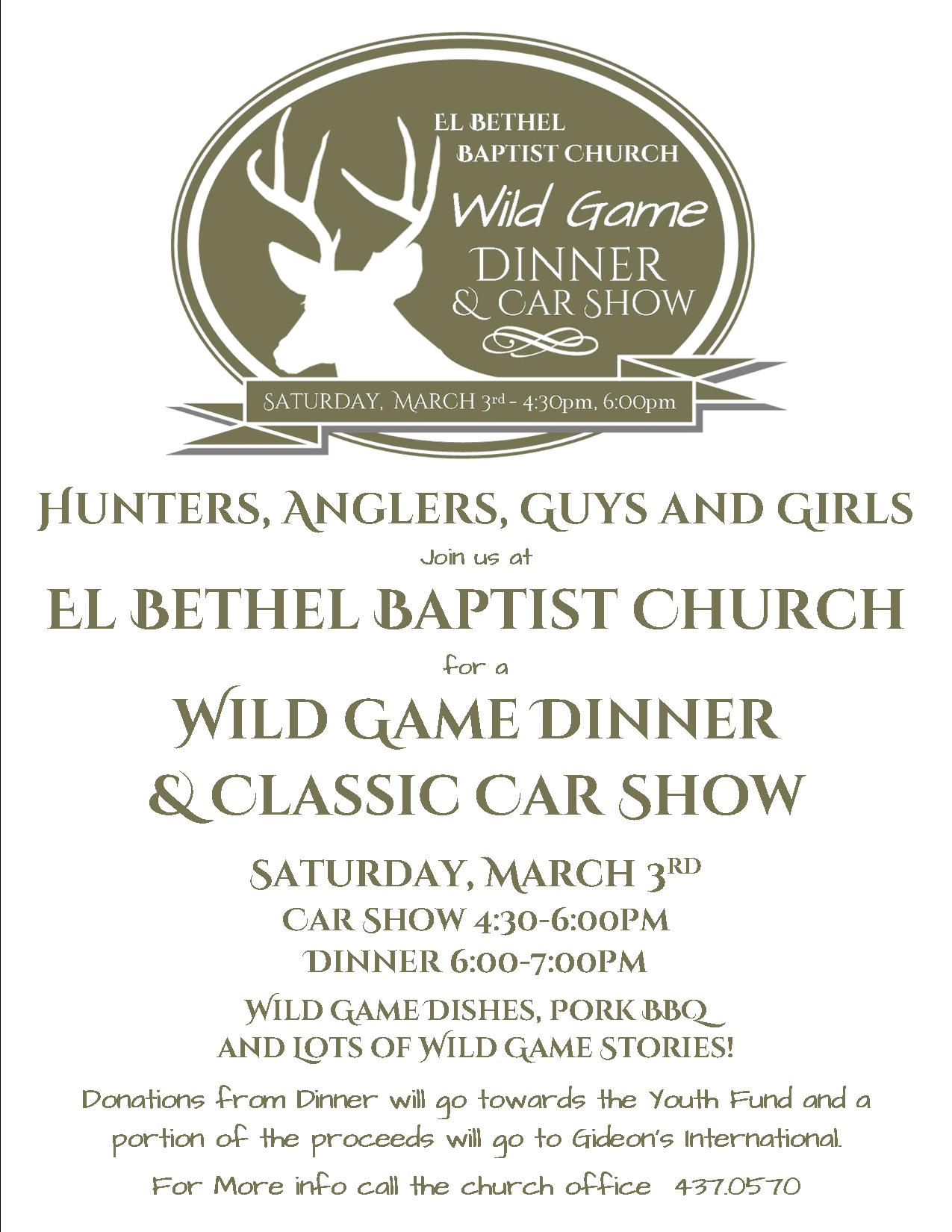 wild game dinner and car show flyer click here