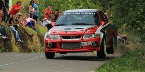 El Mitsubishi de Núñez, durante una prueba en el rally de Toreno (Roberto Prado)