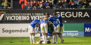 Los jugadores de la Deportiva celebran el tanto de Sobrino que supuso los tres puntos (LFP)