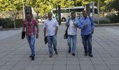 Los representantes sindicales de la minería de CCOO y UGT a su llega al Ministerio