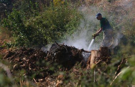Brigadas de la Junta de Castilla y León trabajan en las labores de extinción (César Sánchez / ICAL)