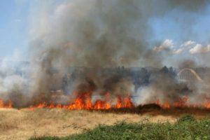 Imagen del incendio de este lunes en el casco urbano de Ponferrada, junto al Puente del Centenario. / QUINITO