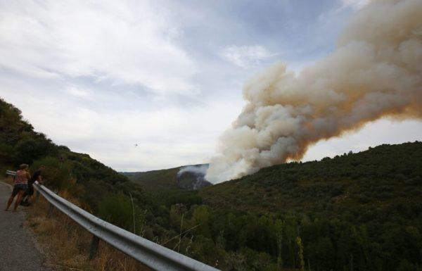 Incendio entre las localidades de San Pedro de Olleros y Espanillo, pertenecientes a los municipios de Vega de Espinareda y Arganza. / CÉSAR SÁNCHEZ (ICAL)