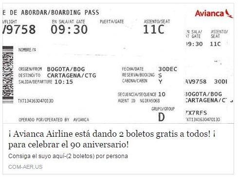 La estafa que promete tiquetes gratis en Avianca - boletos de rifas para imprimir gratis