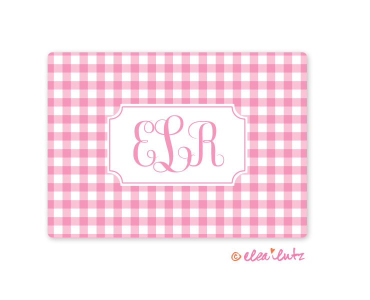 Printable Monogram Note Card Pink