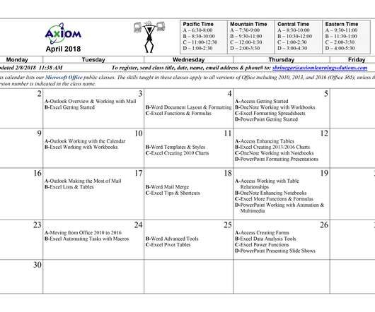 Calendar - eLearning Learning