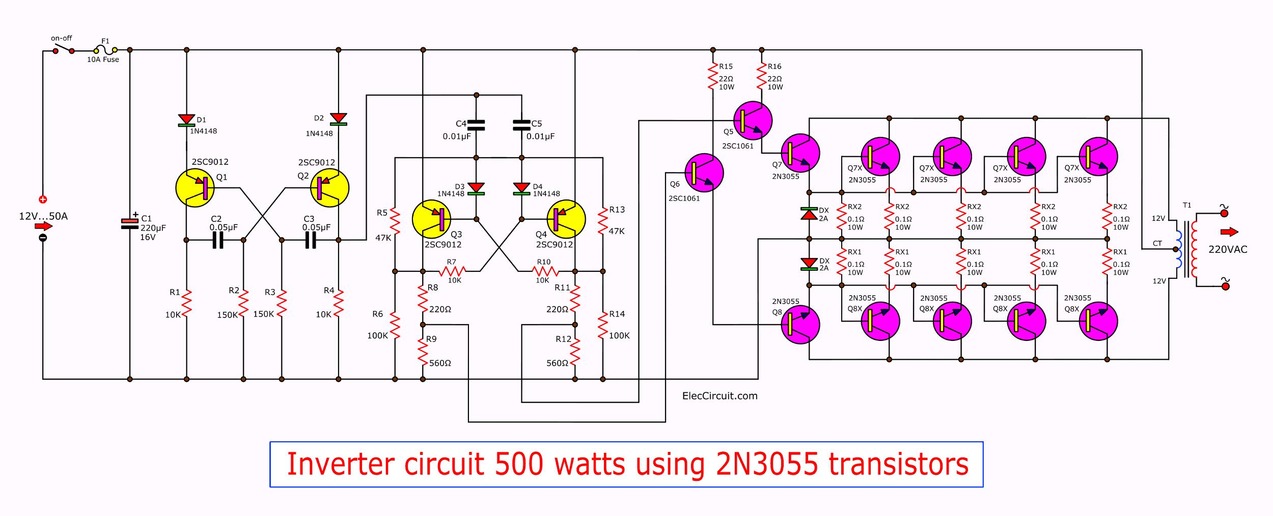 Inverter circuit 500w, 12V to 220V - ElecCircuit