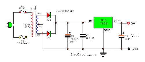 7805 5V voltage regulator datasheet ElecCircuit