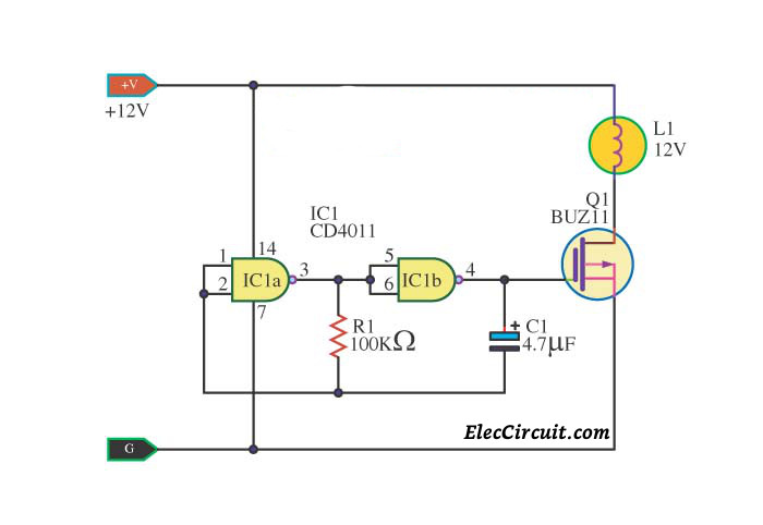 Simple IC 4011 LED flasher circuit -ElecCircuit