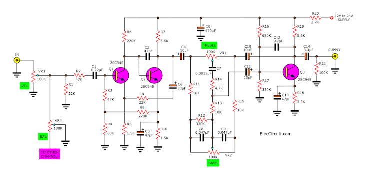 tone control mono circuit with c828 c945