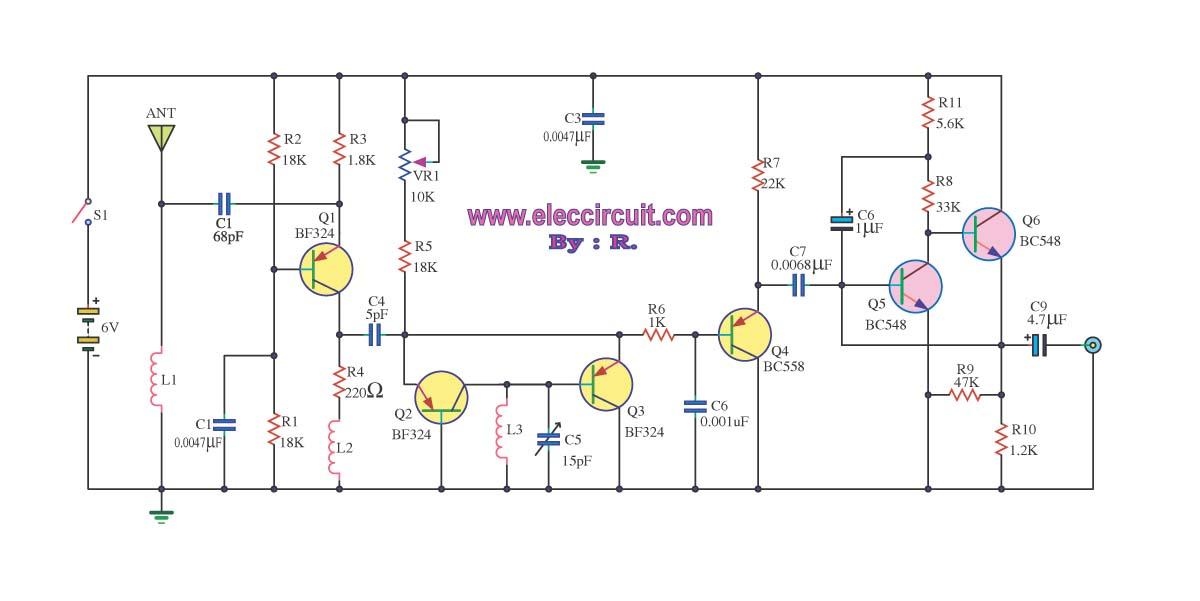 FM receiver circuit with PCB - Simple circuit - Eleccircuit