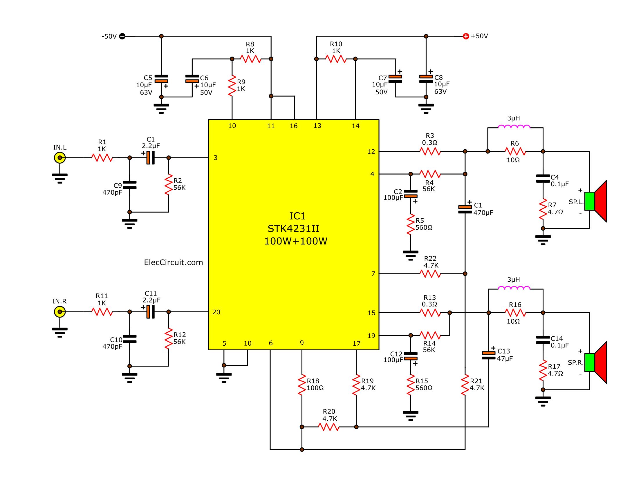 C11 Pc Wiring Diagram 2 Channel 100w Stereo Audio Amplifier Circuit By Stk4231ii