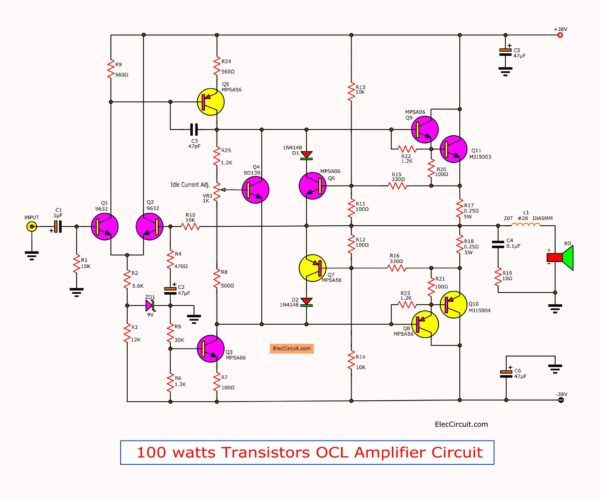 100w mosfet power amplifier the circuit