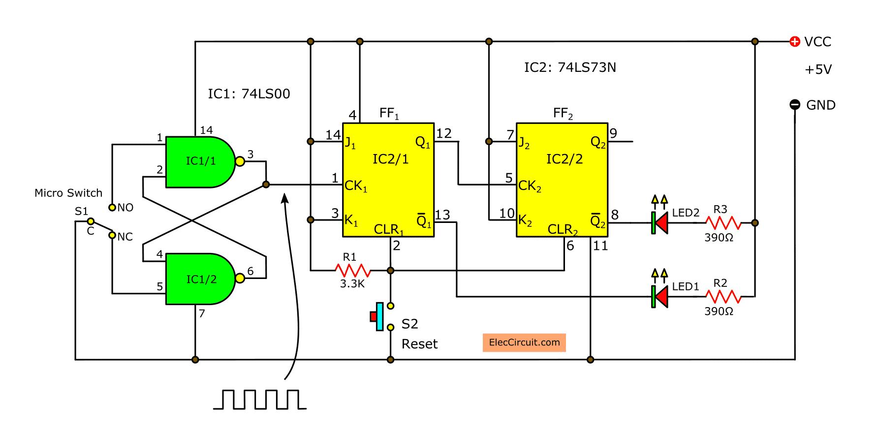 4 bit ripple counter using ic 7473