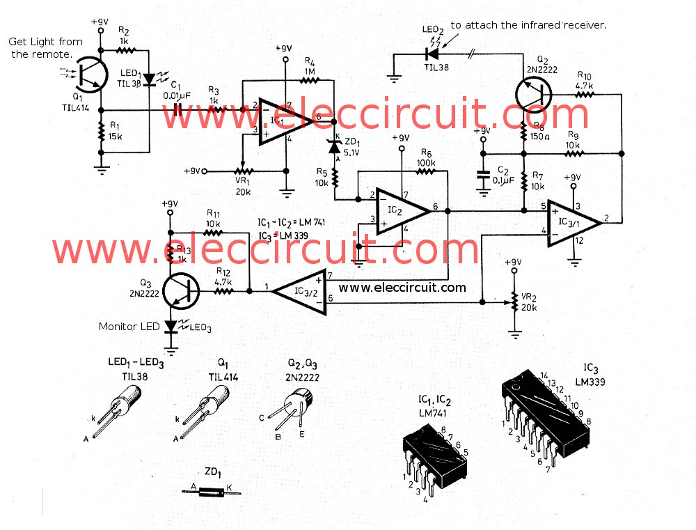 infrared circuits for remote control infrared remote control circuits