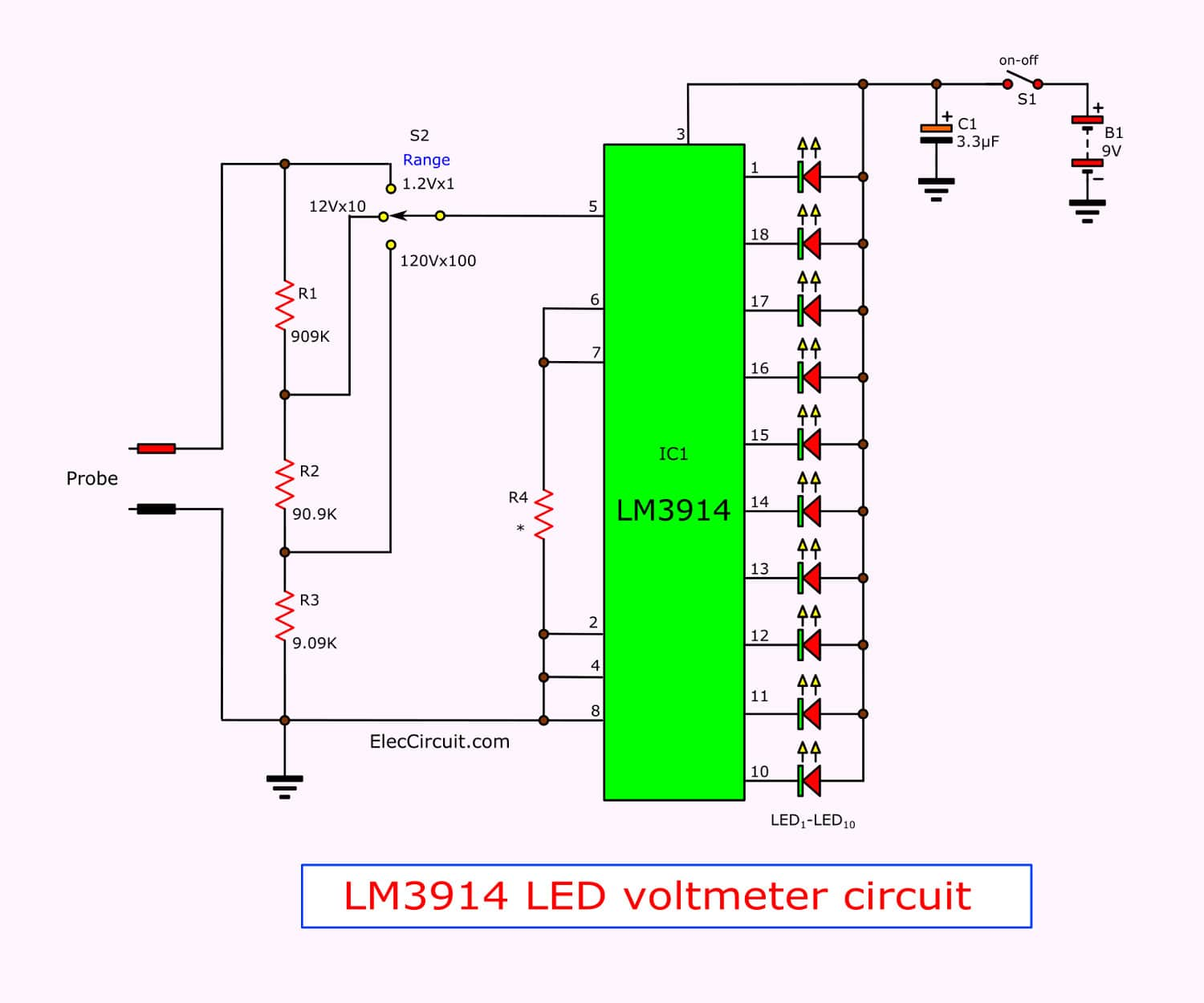 Simple LED voltmeter circuit using LM3914 - ElecCircuit