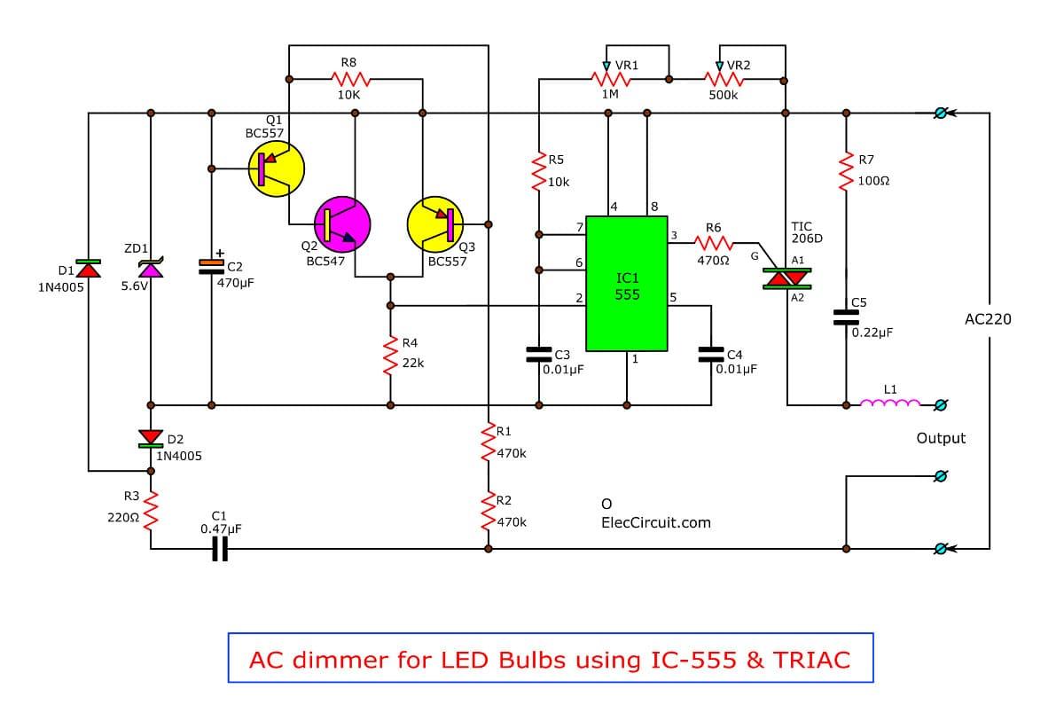 super ac dimmer using ic 555038 triac