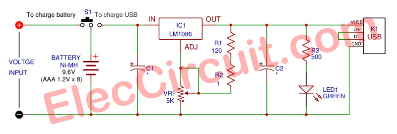 Power bank mobile charger circuit using LM1086 - Eleccircuit