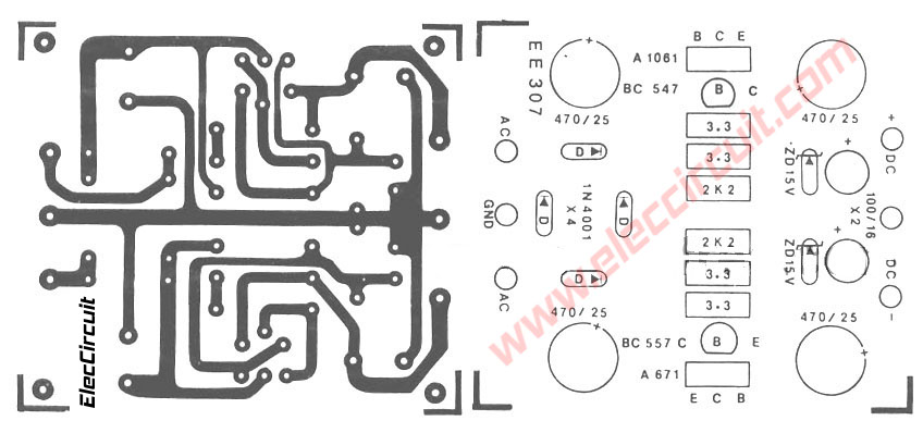 dual dc regulator 15v using c1061 and a761