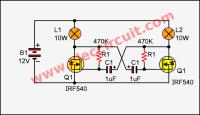 Simple 2 Lamp flasher circuit using MOSFET   ElecCircuit.com