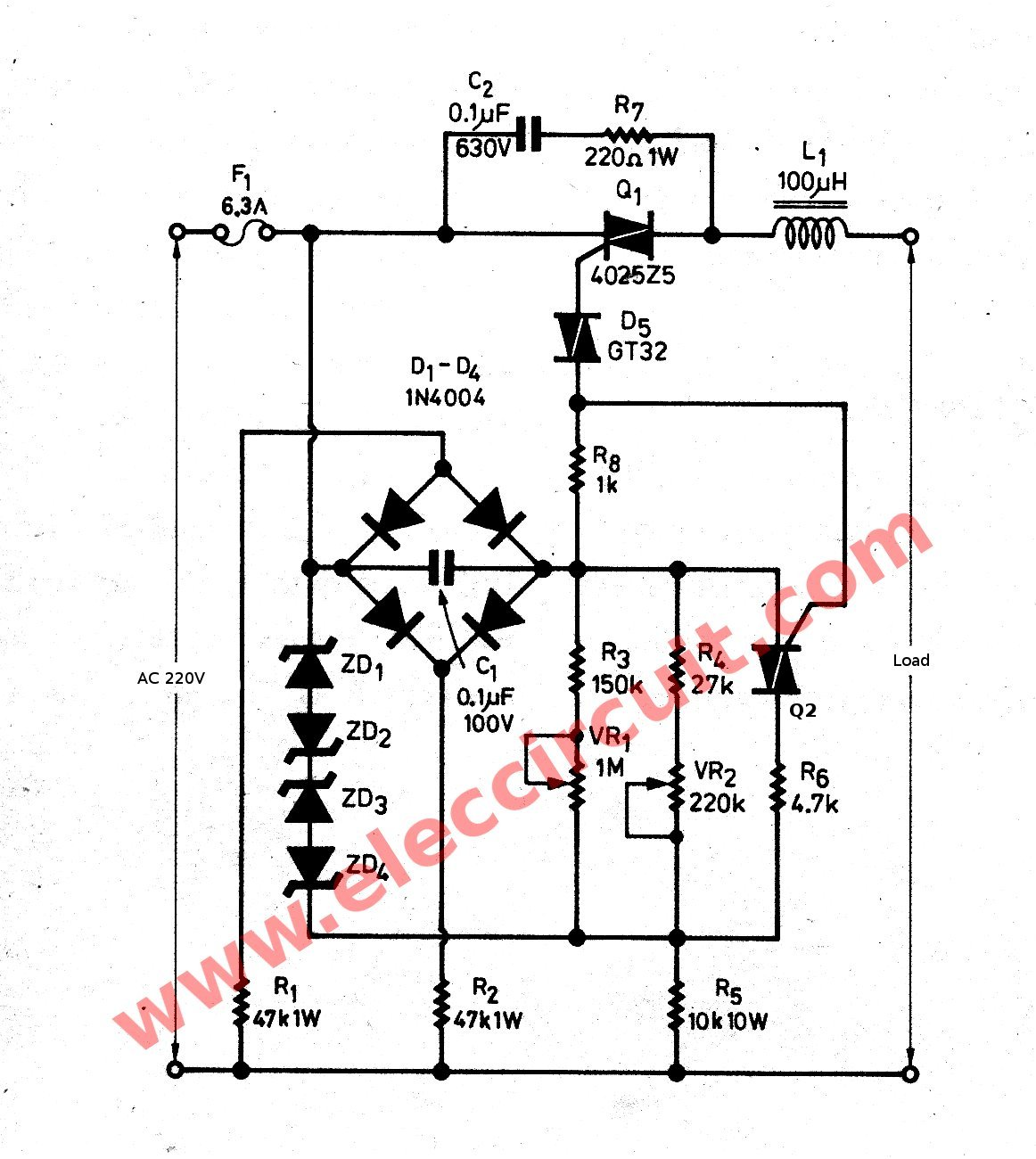 ac dimmer circuit schematic