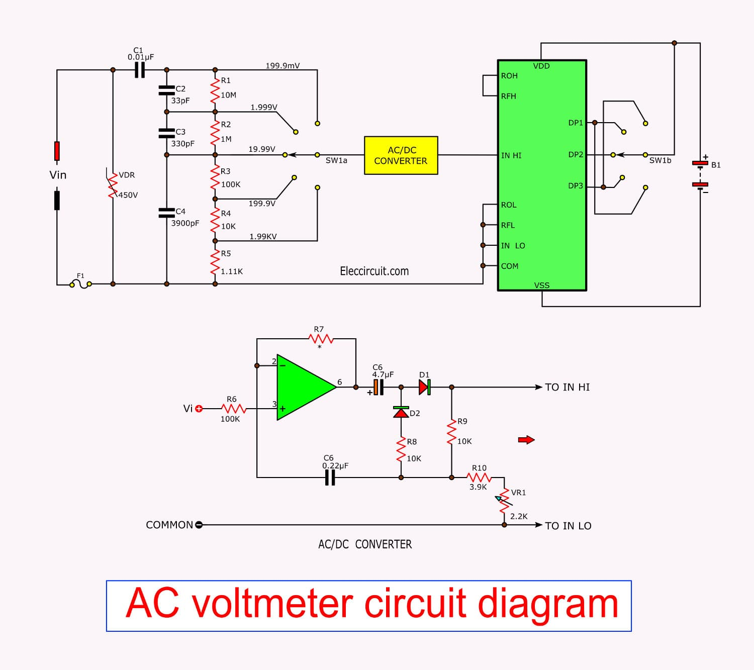 digital voltmeter dvm circuit using icl7107