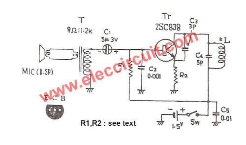 two transistors fm transmitter simple circuit diagram