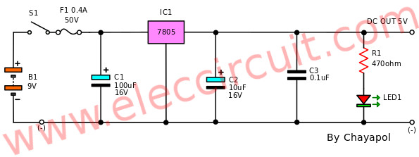 Circuit Diagram Using 7805 And 7812 Regulator 5v6v9v10v12v 1a By Ic