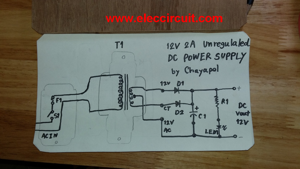 Simple 12V 2A Power supply circuit - ElecCircuit
