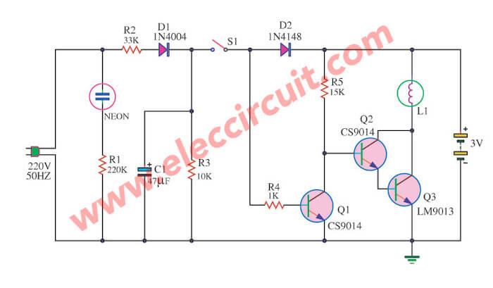 Emergency Light Circuit Using A Flashlight Bulb Electronic Circuit