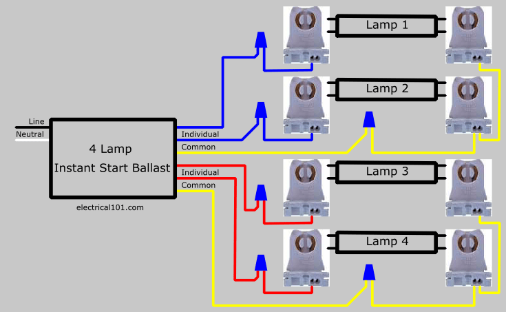 4 light ballast wiring diagram parallel