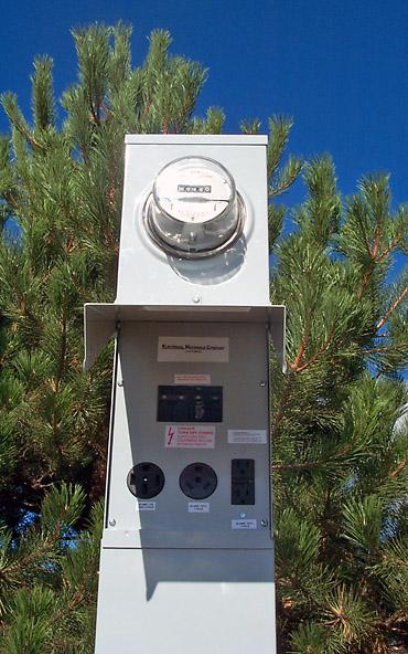 100 Amp RV Electrical Service Pedestal \u2013 Metered Electrical