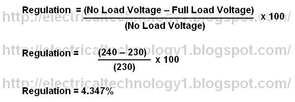 Transformer Regulation With Example - ELECTRICAL TECHNOLOGY
