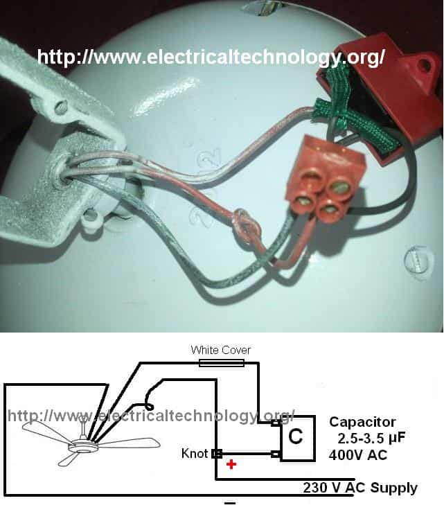 How to connect  Install a Capacitor with a Ceiling Fan - Electrical