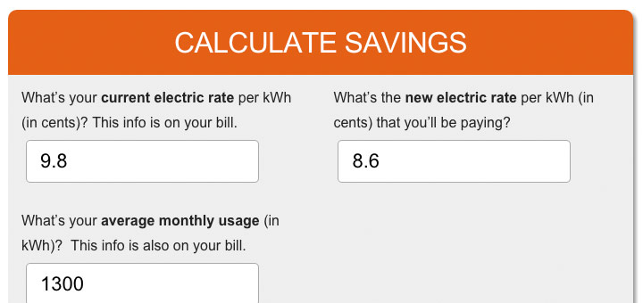 How Much Will a New Electricity Rate Save You? - monthly bill calculator