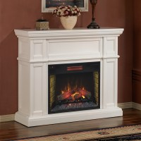 "Artesian 28"" White Electric Fireplace Mantel Package 
