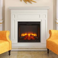 Monarch Electric Fireplace Mantel Package in White ...