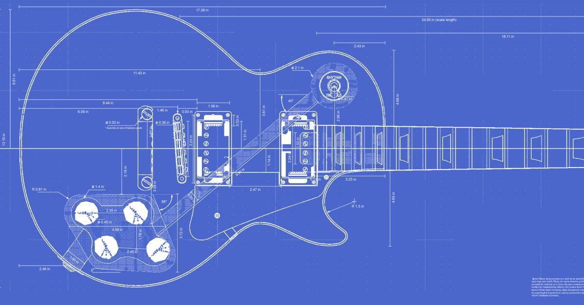 Gibson Les Paul Guitar Templates Electric Herald