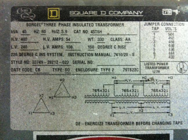 Reverse Feed 240 Delta-480 Delta Transformer - Electrician Talk